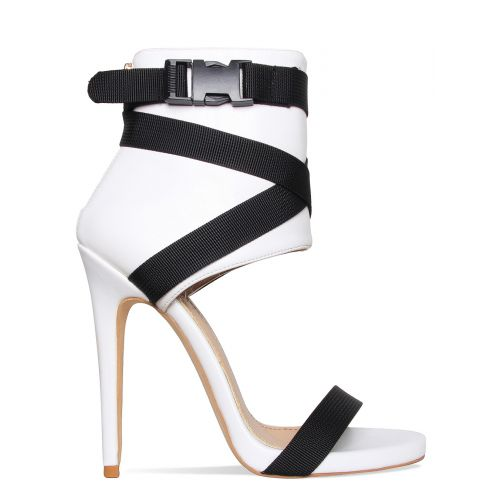 Jamilla White Buckle Stiletto Heels