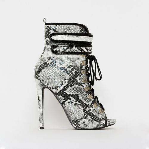 Fiji Black and White Snake Print Peep Toe Lace Up Ankle Boots