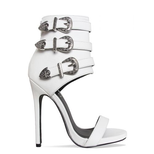 Jaclyn White Western Buckle Stiletto Heels