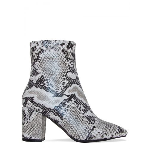 Janelle Black and White Snake Block Heel Ankle Boots