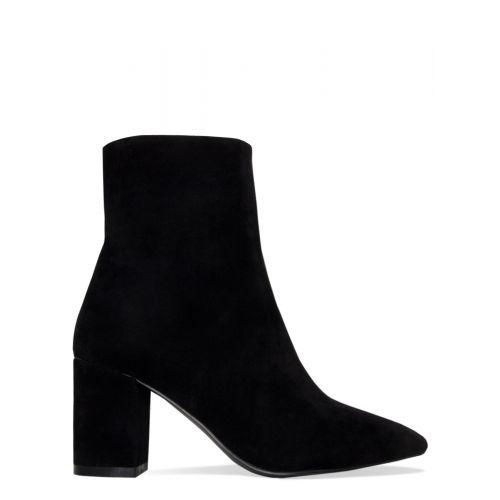 Janelle Black Suede Block Heel Ankle Boots