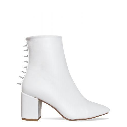 Jordana White Spike Block Heel Ankle Boots