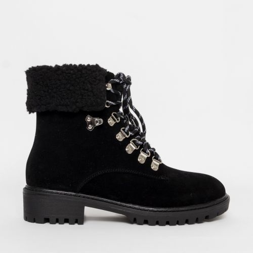 Juna Black Suede Lace Up Shearling Hiking Boots