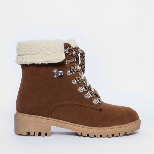 Juna Tan Lace Up Shealing Fur Hiking Boots