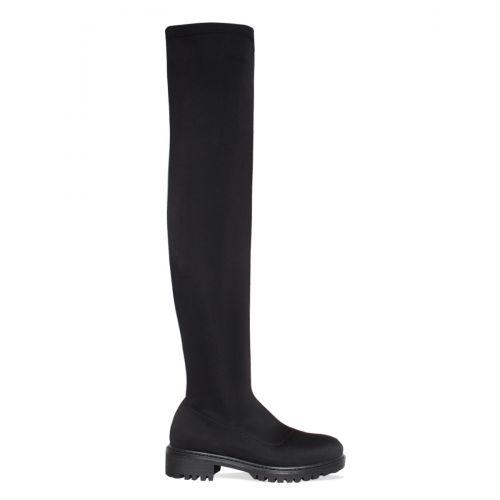 Jamie Black Lycra Flat Over Knee Boots