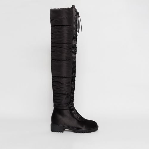 Jenessa Black Lace Up Puffer Thigh High Boots