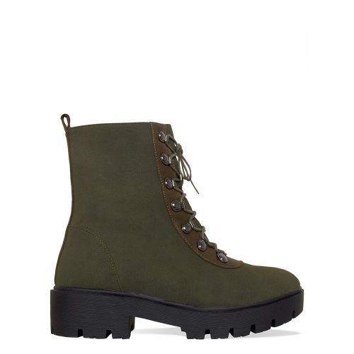 Jayda Khaki Suede Lace Up Hiking Ankle Boots