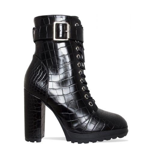 Jade Black Croc Lace Up Platform Block Heel Ankle Boots