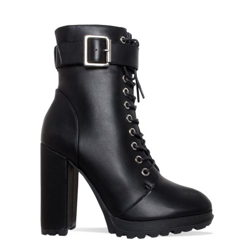 Jade Black Lace Up Platform Block Heel Ankle Boots