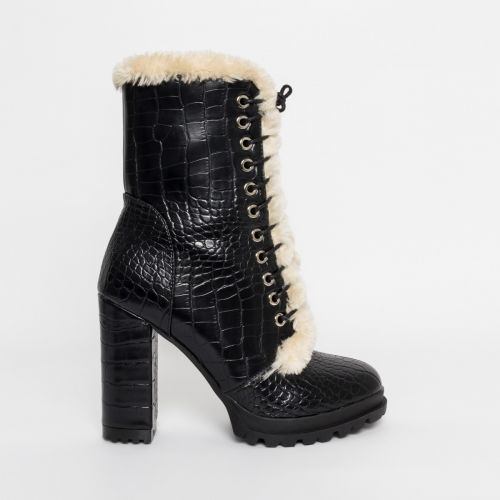 Jelica Black Croc Faux Fur Lace Up Boots