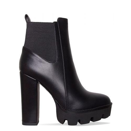 Jemma Black Heel Platform Ankle Boots