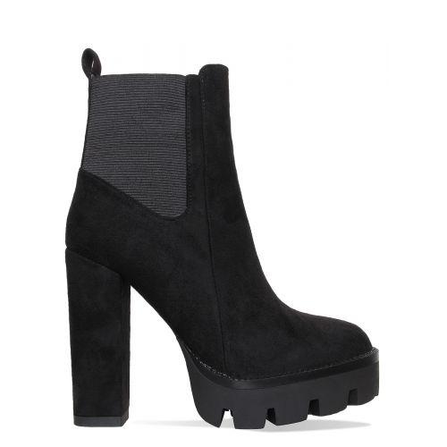 Jemma Black Suede Heel Platform Ankle Boots