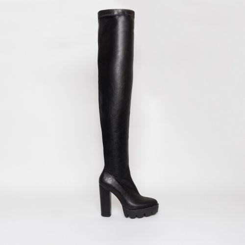 Stormi Black Platform Thigh High Boots