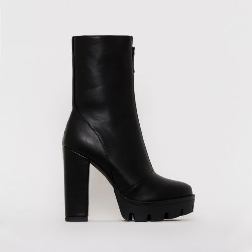 Jezebel Black Zip Platform Ankle Boots