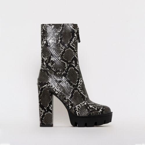 Jezebel Dark Grey Snake Print Zip Platform Ankle Boots