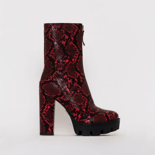 Jezebel Red Snake Print Zip Platform Ankle Boots