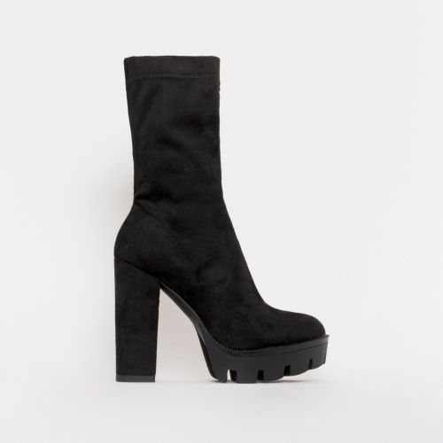 True Black Suede Platform Ankle Boots