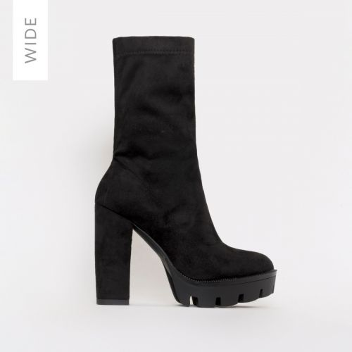 True Wide Fit Black Suede Platform Ankle Boots