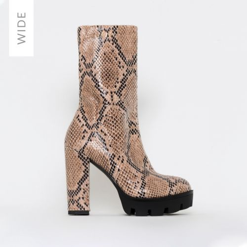 True Wide Fit Beige Snake Print Platform Ankle Boots