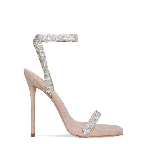 Laurel Nude Suede Clear Diamante Square Toe Heels