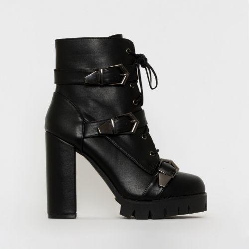 Jodie Black Buckle Platform Ankle Boots