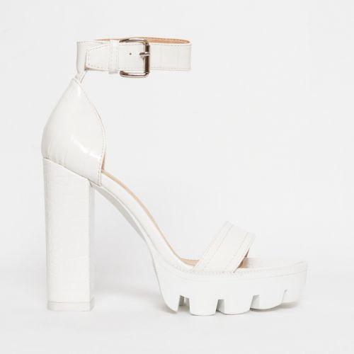 Jordan White Croc Chunky Platform Heels