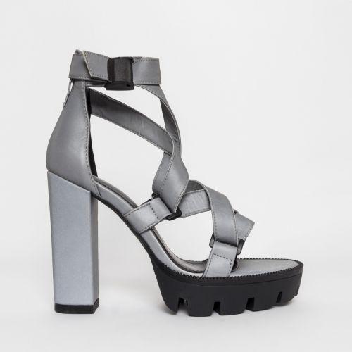 Jaylee Grey Reflective Buckle Platform Heels