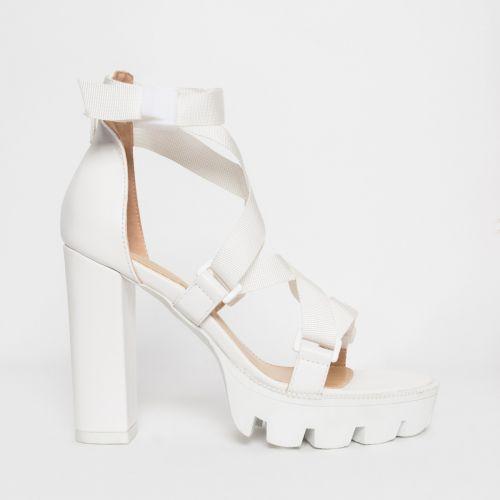 Jaylee White Buckle Platform Heels