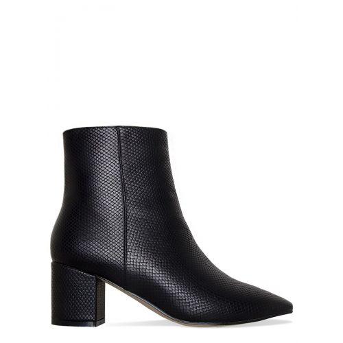 Josie Black Lizard Block Heel Ankle Boots