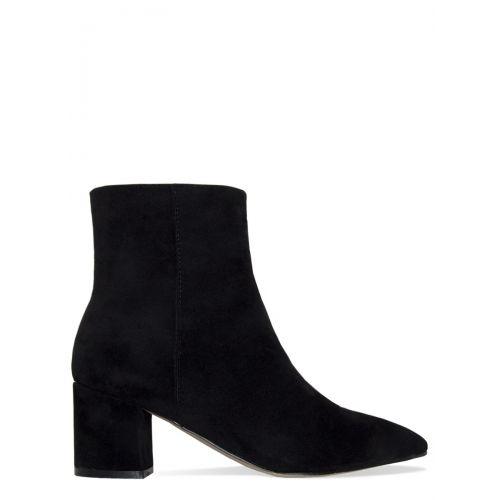 Josie Black Suede Block Heel Ankle Boots