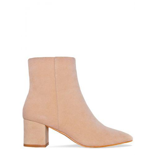 Josie Nude Suede Block Heel Ankle Boots