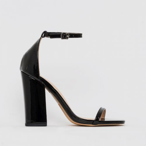 Zoi Black Patent Barely There Block Heels
