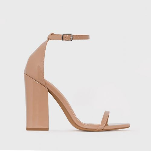 Zoi Nude Patent Barely There Block Heels
