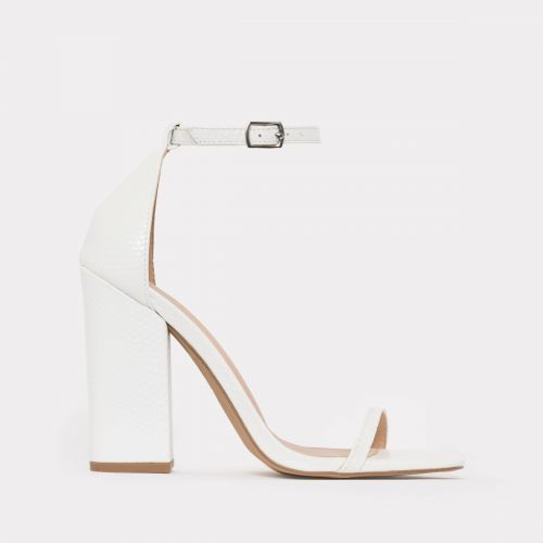 Zoi White Snake Barely There Block Heels