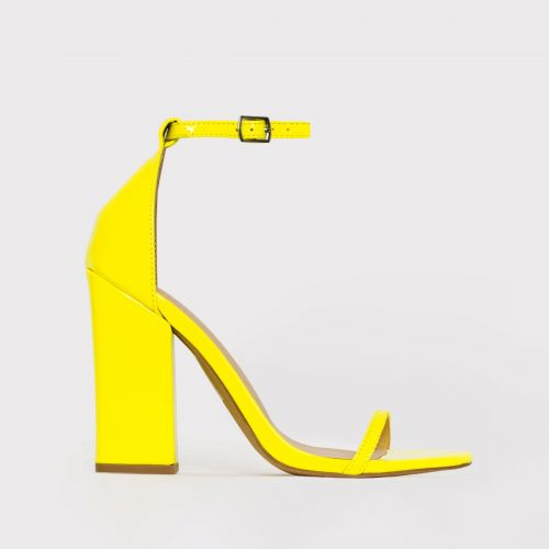 Zoi Yellow Patent Barely There Block Heels