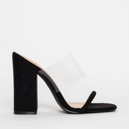 Carissa Black Suede Clear Block Mules