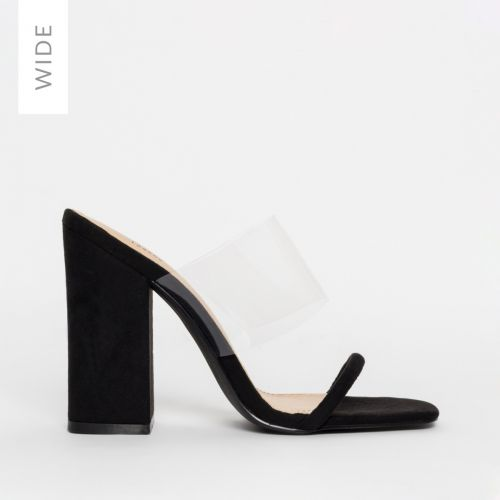 Carissa Wide Fit Black Suede Clear Block Mules