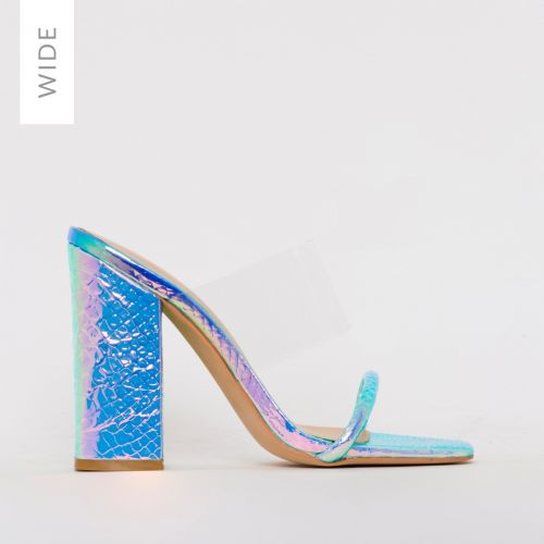 Carissa Wide Fit Rainbow Snake Print Clear Block Mules