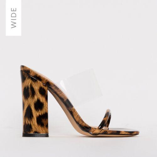 Carissa Wide Fit Patent Leopard Print Clear Block Mules