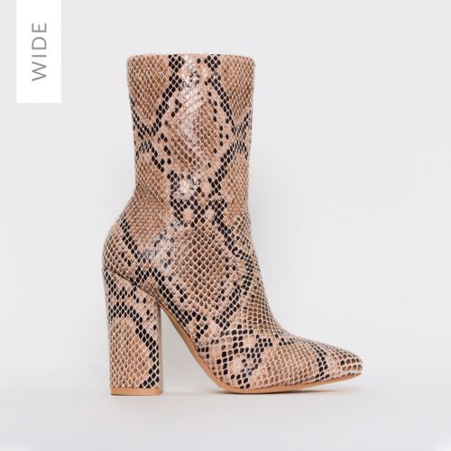 Tanya Wide Fit Beige Snake Print Block Heel Ankle Boots