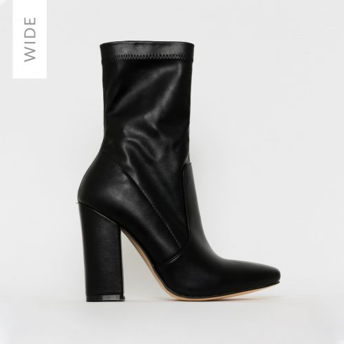 Tanya Wide Fit Black Block Heel Ankle Boots