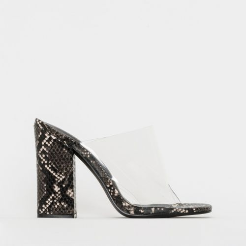 Clio Grey Snake Print Clear Block Heel Mules