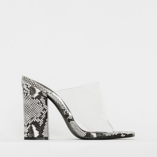 Clio Black and White Snake Print Clear Block Heel Mules