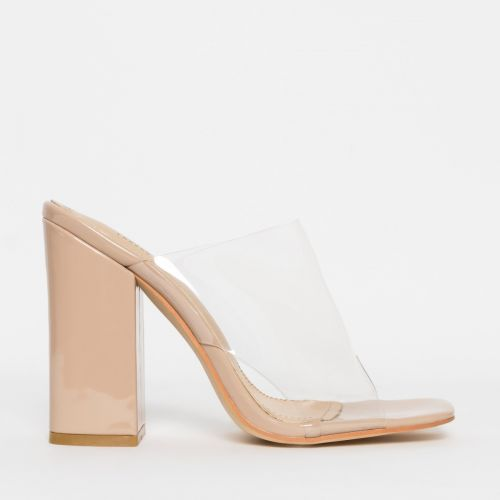 Clio Nude Patent Clear Block Heel Mules