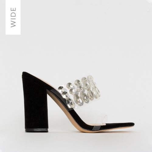 Sian Wide Fit Black Suede Clear Jewel Mules