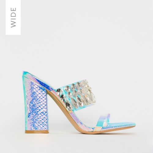 Sian Wide Fit Rainbow Snake Print Clear Jewel Mules