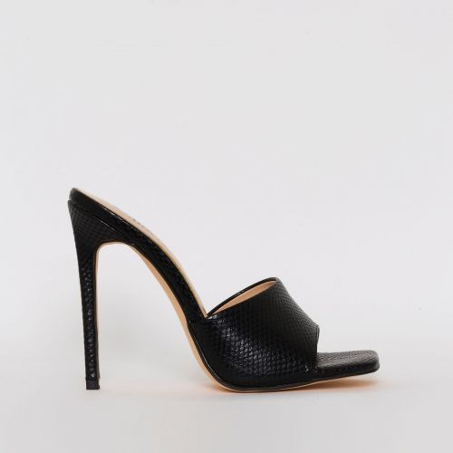 Amalie Black Snake Print Stiletto Mule Heels