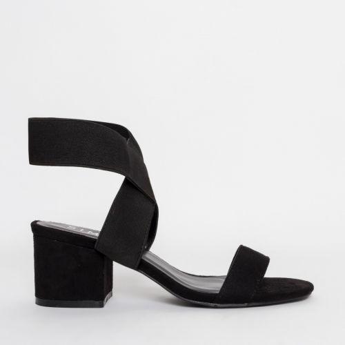 Kady Black Suede Strappy Mid Block Heels