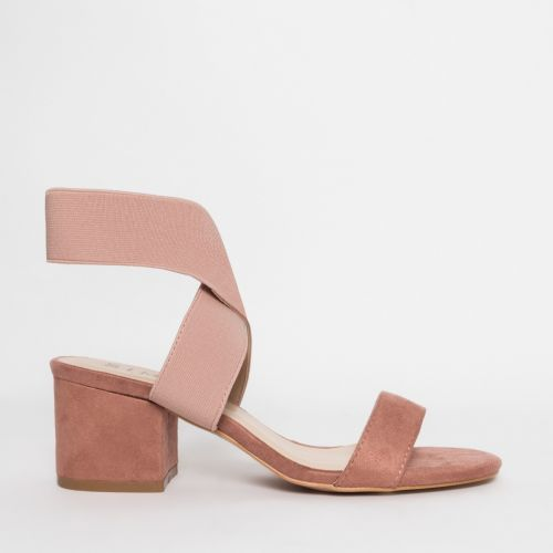 Kady Blush Suede Strappy Mid Block Heels