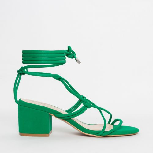 Kacie Green Suede Lace Up Mid Block Heels